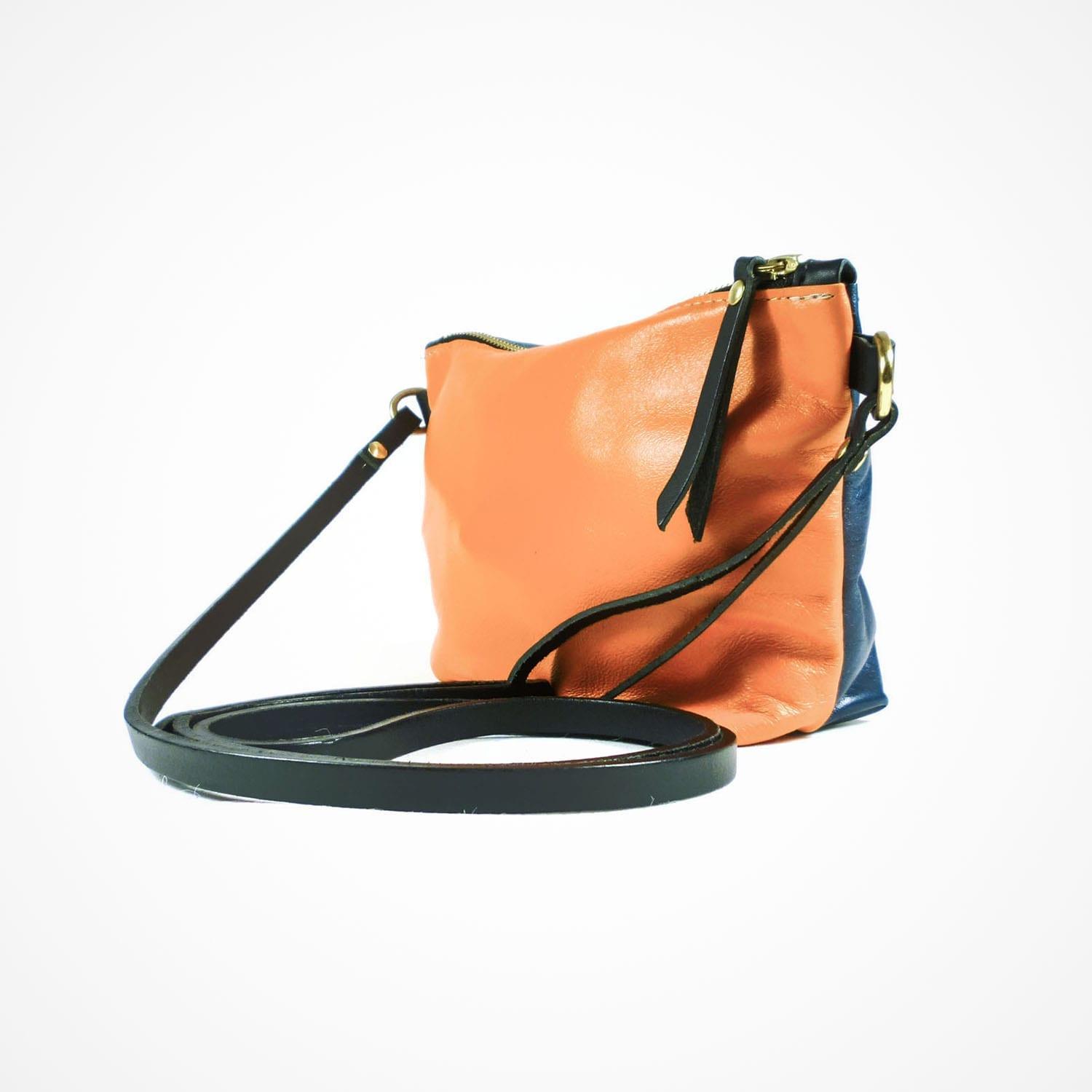 Mia Clutch Double Sided Orange Navy Side View