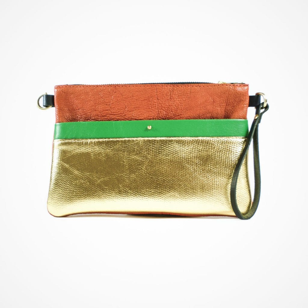 Ava Clutch Red Gold Green Front View