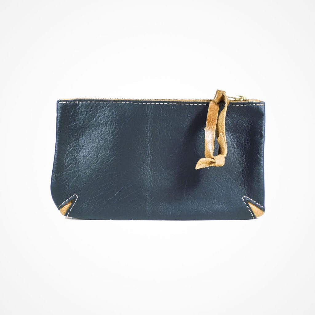 Corner Cut Purse Blue Tan Front View
