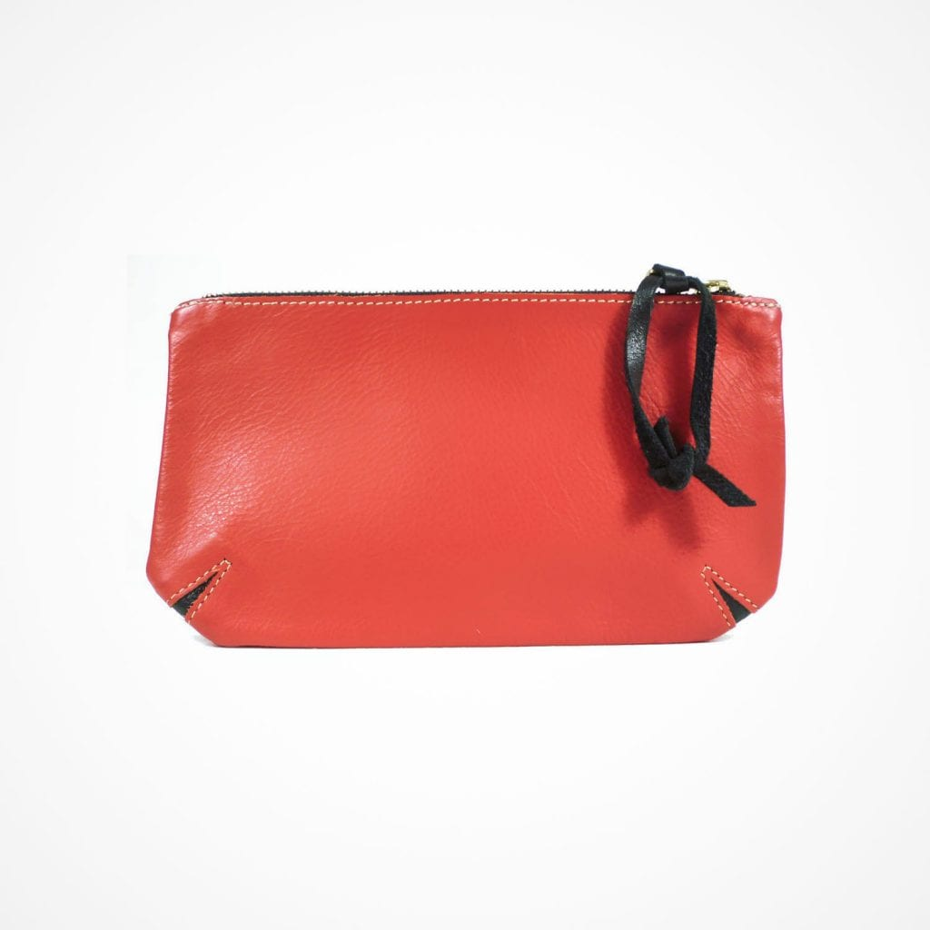 Corner Cut Purse Red Navy Front View