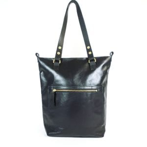 Alex Tote Bag - Black Leather, Front View