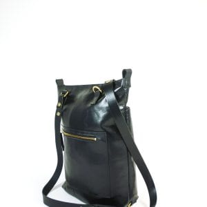 Alex Tote Bag - Black Leather, Side View 2