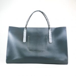 Amber Tote Bag - Unique Graphic Grey Leather, Back View
