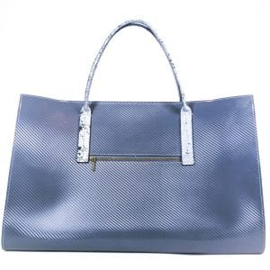 Amber Tote Bag - Graphic Grey Leather, Front View