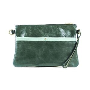 Ava Clutch Bag - Aqua and Teal Leather, Front View