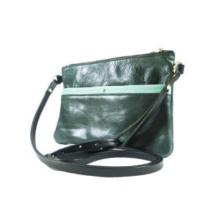 Ava Clutch Bag - Aqua and Teal Leather, Side View