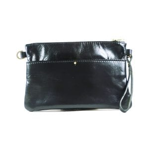 Ava Clutch Bag - Black Top Grain Leather, Front View