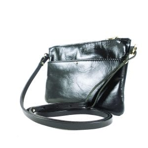 Ava Clutch Bag - Black Top Grain Leather, Side View