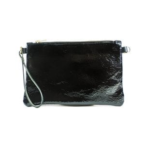 Ava Clutch Bag - Black and White Patent, Back View