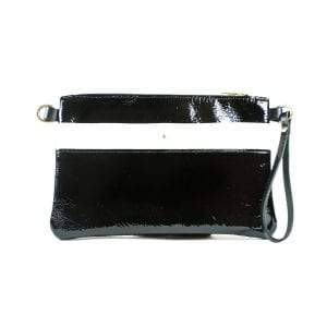 Ava Clutch Bag - Black and White Patent, Front View