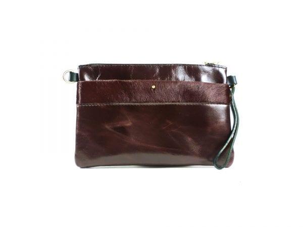 Ava Clutch Bag - Oxblood Leather, Front View