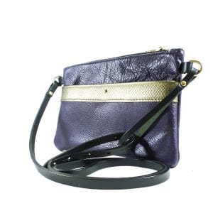 Ava Clutch Bag - Purple and Bronze Leather, Side View