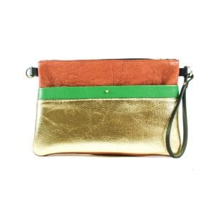 Ava Clutch Bag - Red, Gold and Green Leather, Front View