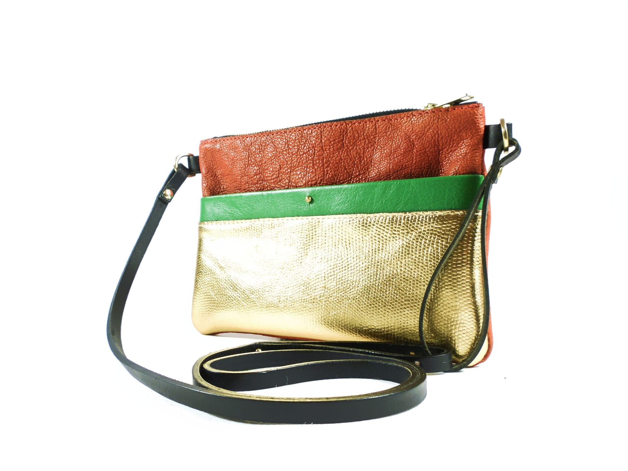 Ava Clutch Bag - Red, Gold, Green (with detachable strap) | Karing ...