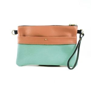Ava Clutch Bag - Salmon and Teal Leather, Front View