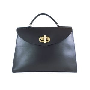 Gracie Handbag Large - Black Leather, Front View