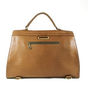 Gracie Shoulderbag - Tan, Veg Tanned Leather, Back View