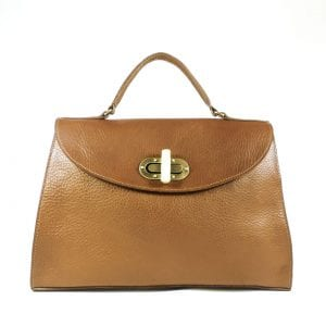 Gracie Shoulderbag - Tan, Veg Tanned Leather, Front View