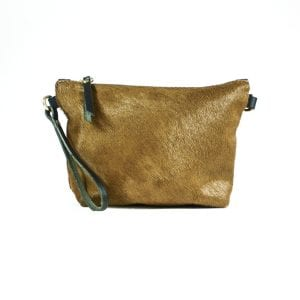 Mia Double Sided Clutch Bag - Black, Tan, Back View