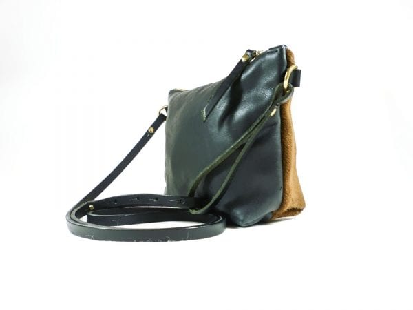 Mia Double Sided Clutch Bag - Black, Tan, Side View