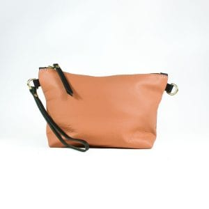 Mia Double Sided Clutch Bag - Grey, Salmon, Back View