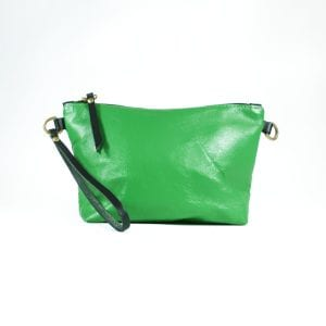 Mia Double Sided Clutch Bag - Navy, Green, Back View