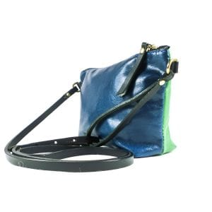 Mia Double Sided Clutch Bag - Navy, Green, Side View