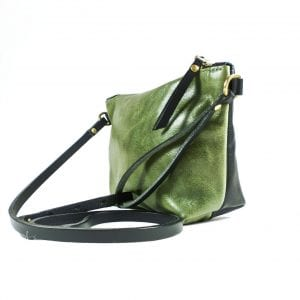 Mia Double Sided Clutch Bag - Olive, Black, Side View