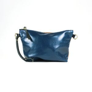 Mia Double Sided Clutch Bag - Orange, Navy, Back View