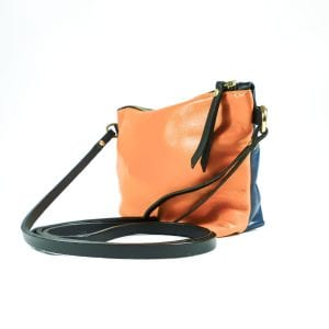 Mia Double Sided Clutch Bag - Orange, Navy, Side View