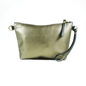 Mia Clutch Bag - Bronze Embossed Leather, Front View
