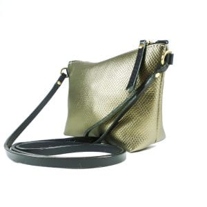 Mia Clutch Bag - Bronze Embossed Leather, Side View