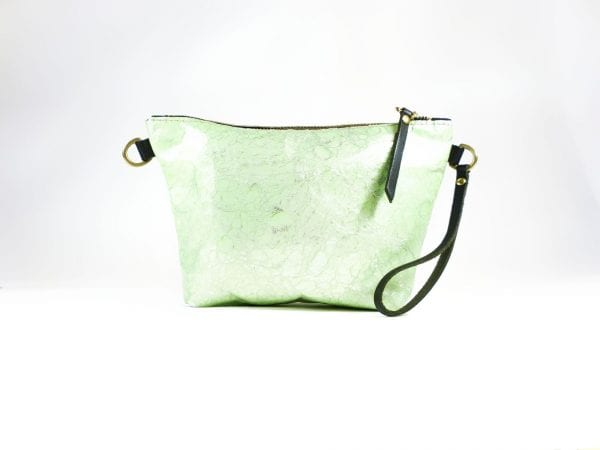 Mia Clutch Bag - Green Marble Effect Leather, Front View