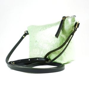 Mia Clutch Bag - Green Marble Effect Leather, Side View