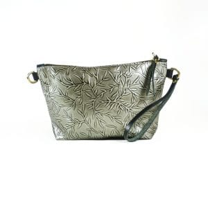 Mia Clutch Bag - Silver Leaf Pattern Leather, Front View