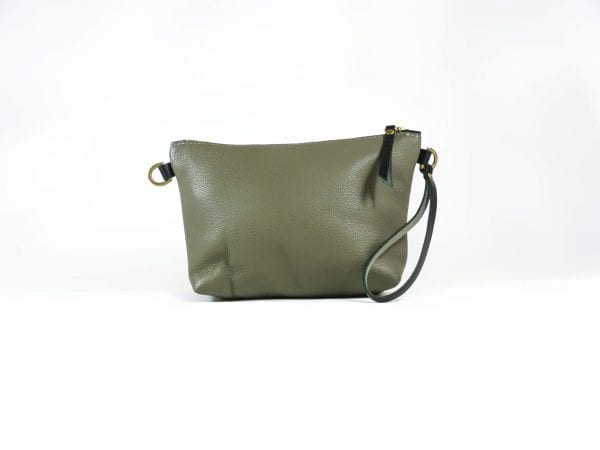 Mia Clutch Bag - Grey Top Grain Leather, Front View
