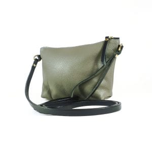 Mia Clutch Bag - Grey Top Grain Leather, Side View