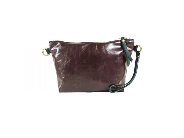 Mia Clutch Bag - Oxblood Top Grain Leather, Front View