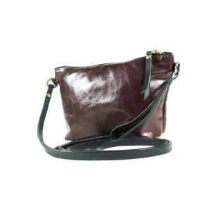 Mia Clutch Bag - Oxblood Top Grain Leather, Side View