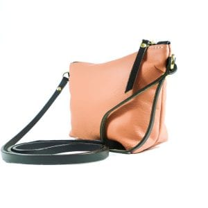 Mia Clutch Bag - Salmon Top Grain Leather, Side View