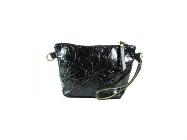 Mia Clutch Bag Mini - Black Embossed Leather, Front View