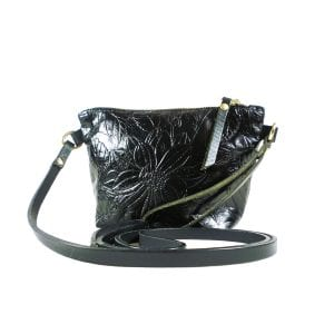 Mia Clutch Bag Mini - Black Embossed Leather, Side View