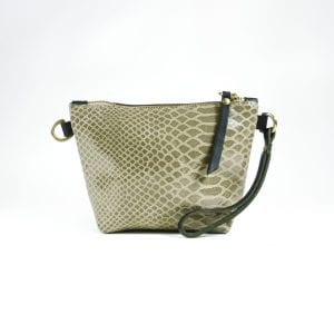Mia Clutch Bag Mini - Taupe Croc Print Leather, Front View