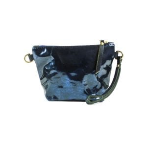 Mia Clutch Bag Mini - Blue Foiled Leather, Front View
