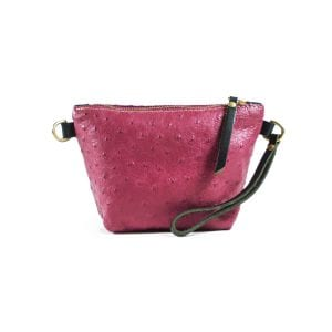 Mia Clutch Bag Mini - Pink Ostrich Embossed, Front View