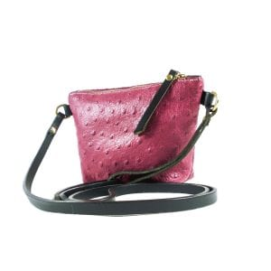 Mia Clutch Bag Mini - Pink Ostrich Embossed, Side View