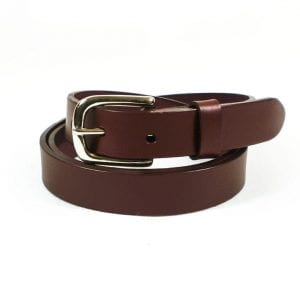 Belt - Oxblood Leather, 2.5 cm wide, Nickle Plate Buckle, Rolled