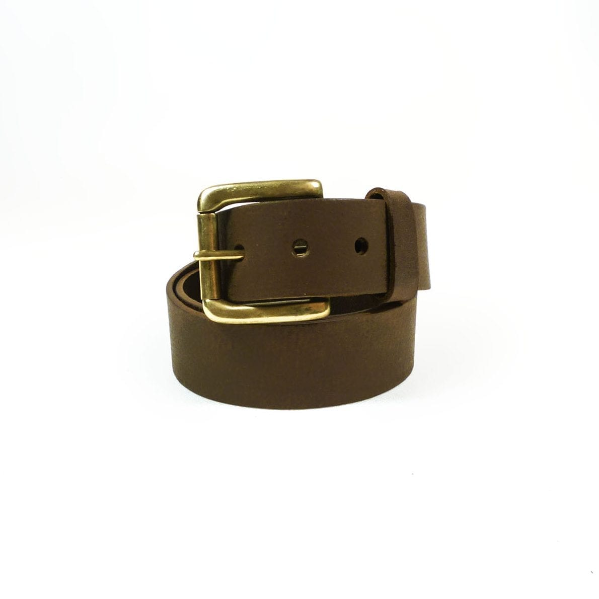 Belt - Brown Leather, 4cm wide, Brass Buckle, Rolled
